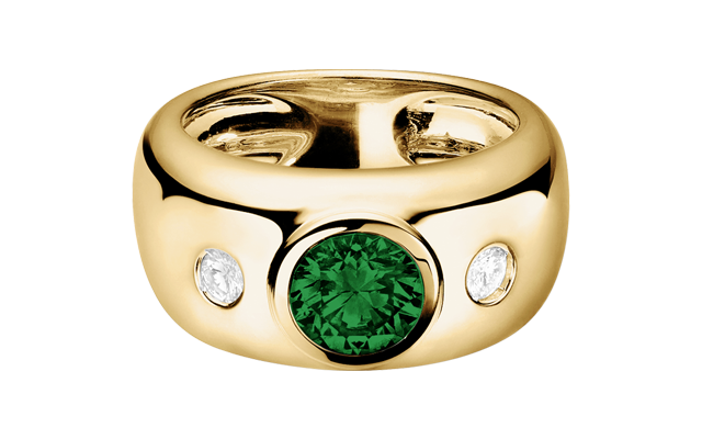Gemstone Ring Naples Tourmaline green in Yellow Gold