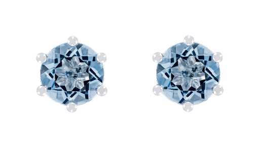 Gemstone Stud Earring 6-Prong Setting with a blue Aquamarine in White Gold
