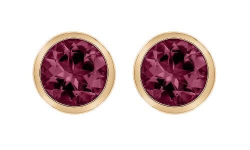 Gemstone Stud Earring Bezel Setting with a Rhodolite in Rose Gold