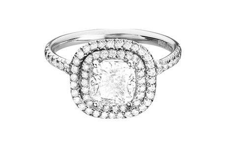 Diamond Ring Miami – Cushion in White Gold