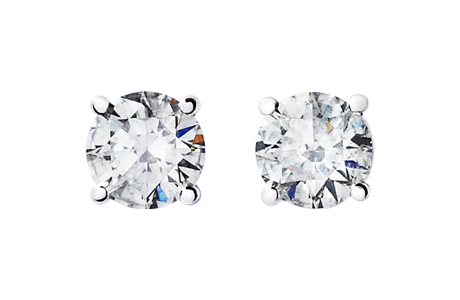Diamond Stud Earrings 4-Prong Setting in White Gold