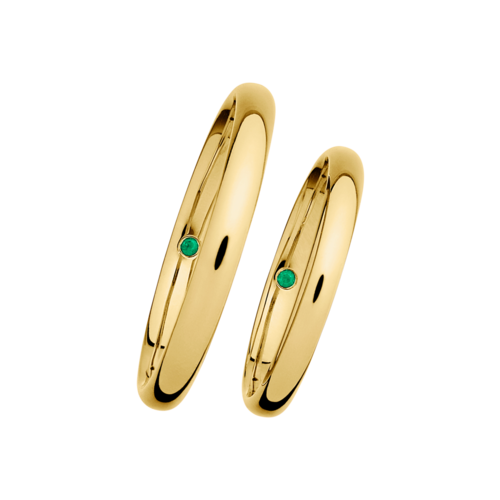 wedding rings with emeralds in yellow gold - Online Wedding Rings