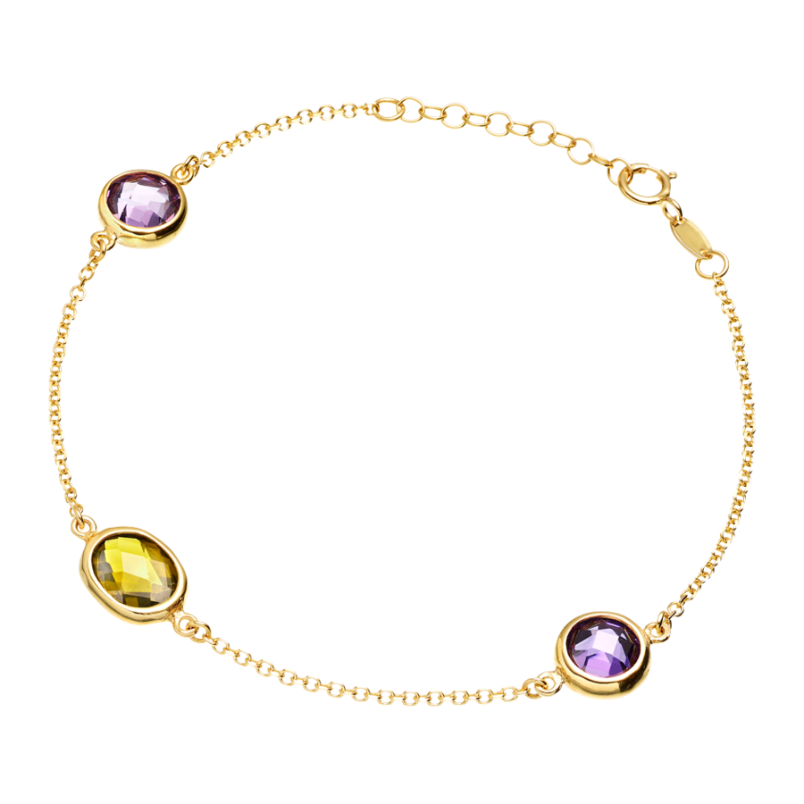 Bracelet with Gemstones, Purple and Green in Yellow Gold