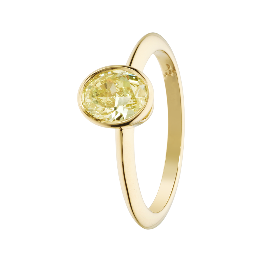 Diamantring Fancy Yellow in Gelbgold