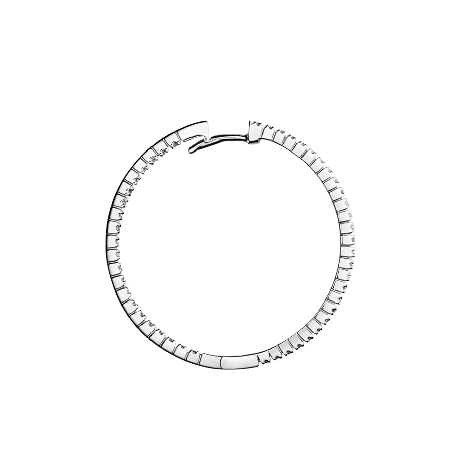 Diamond Hoop Earrings V in White Gold