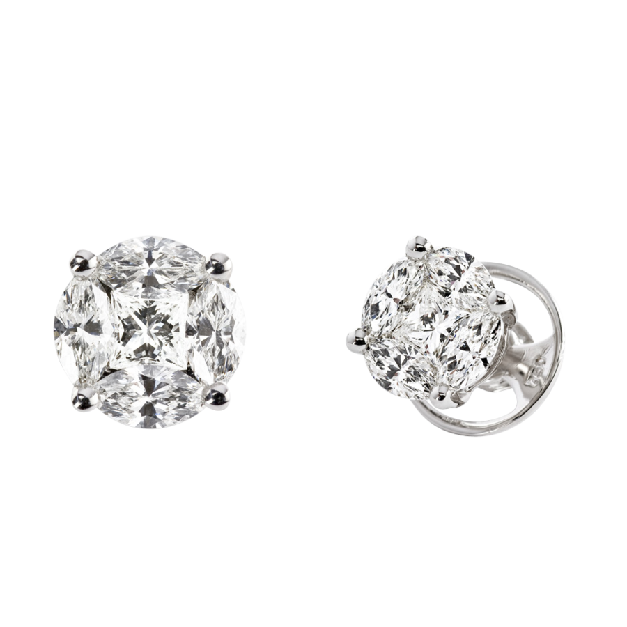 Diamond Stud Earring Composition in White Gold