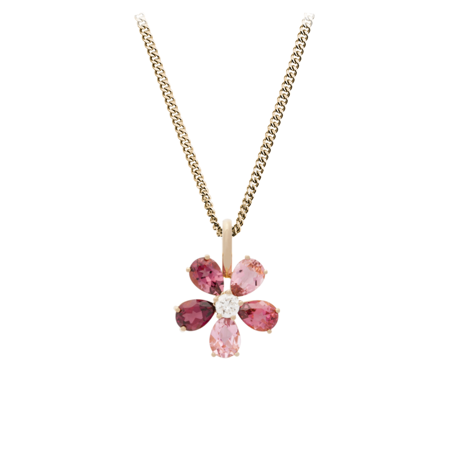 Flowers Pendant Tourmaline in Rose Gold