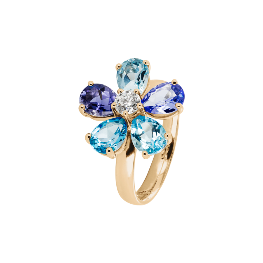 Flowers Ring blue in Rose Gold