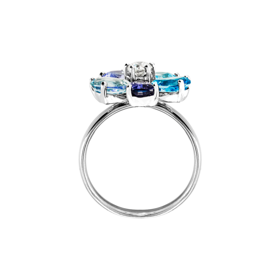 Flowers Ring blue in White Gold