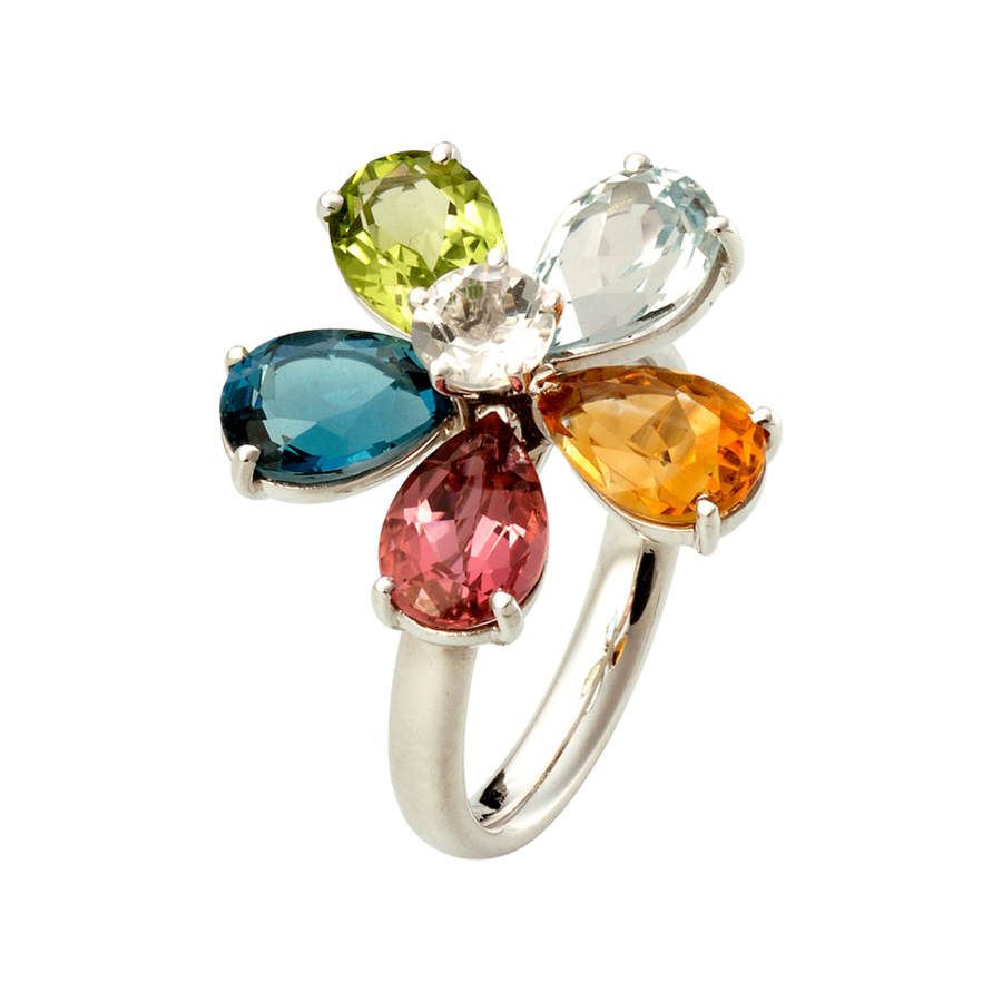 Flowers Ring in White Gold
