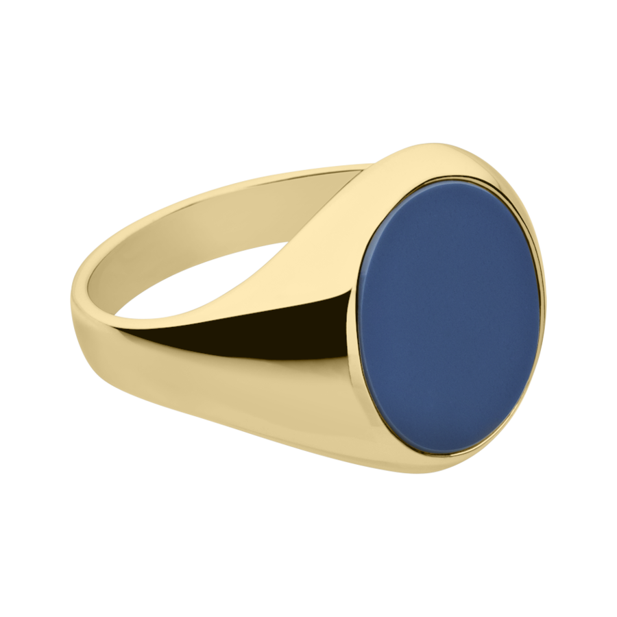 Gents Signet Ring Banded Stone large in Yellow Gold