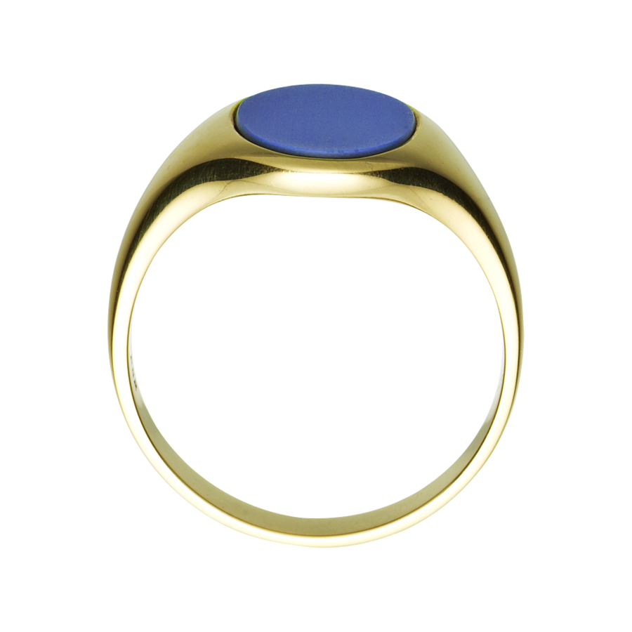 Gents Signet Ring Banded Stone in Yellow Gold