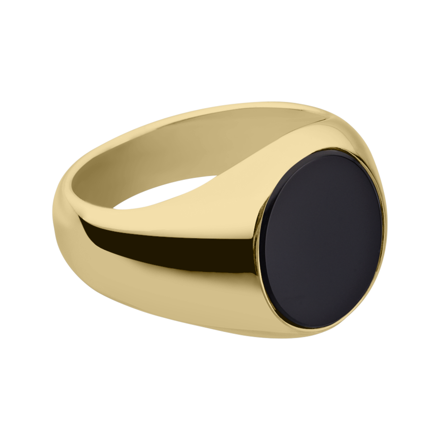 Gents Signet Ring Onyx large in Yellow Gold