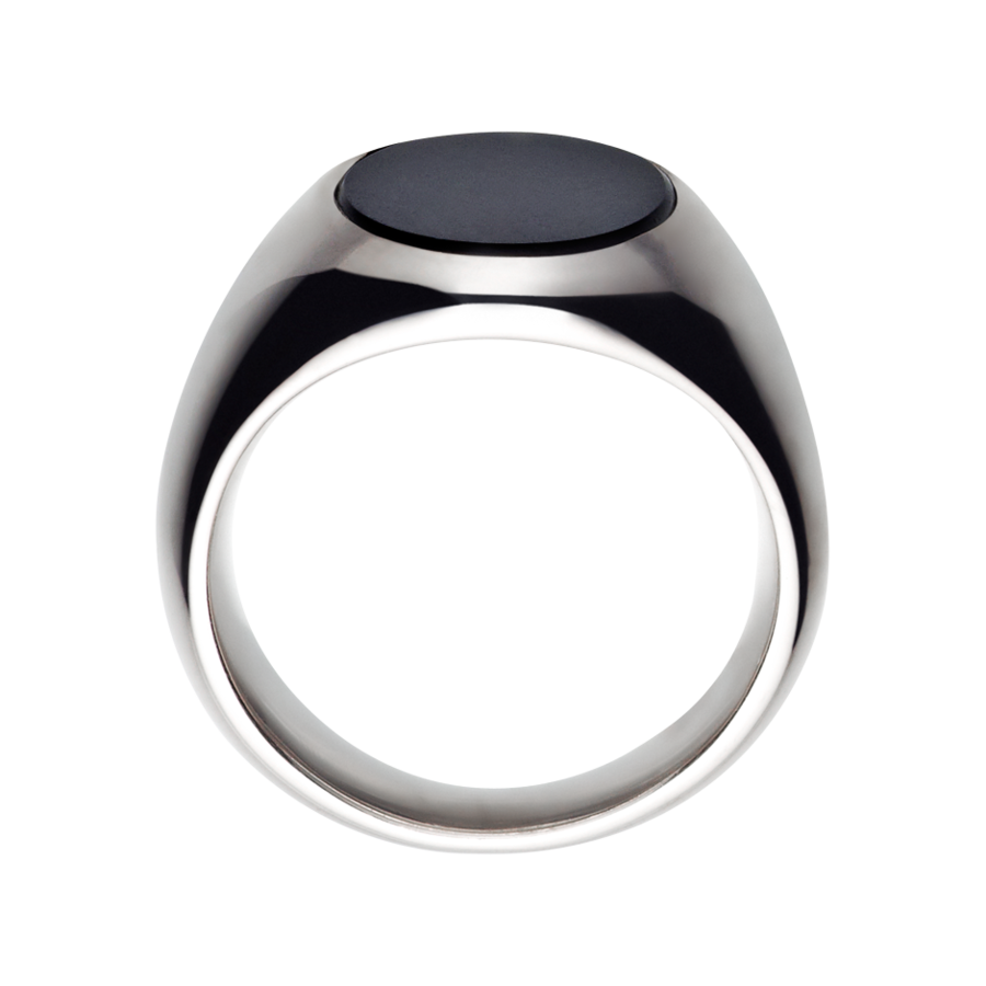 Gents Signet Ring Onyx small in White Gold