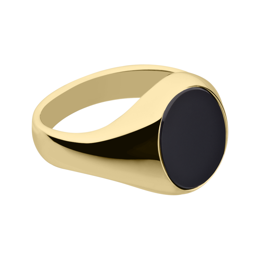 Gents Signet Ring Onyx small in Yellow Gold