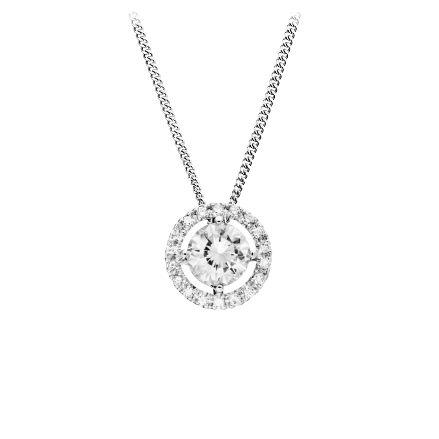 Halo Diamond Pendant with Brilliants in White Gold