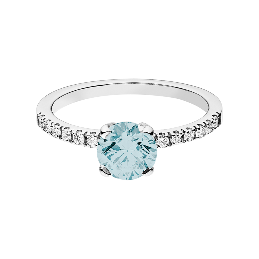 Melbourne Aquamarine blue in Platinum