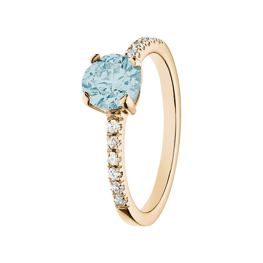 Melbourne Aquamarine blue in Rose Gold