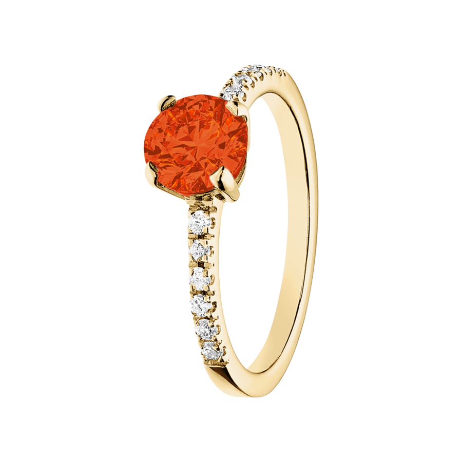 Melbourne Fire Opal orange in Yellow Gold