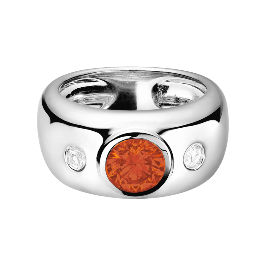 Naples Fire Opal orange in Platinum
