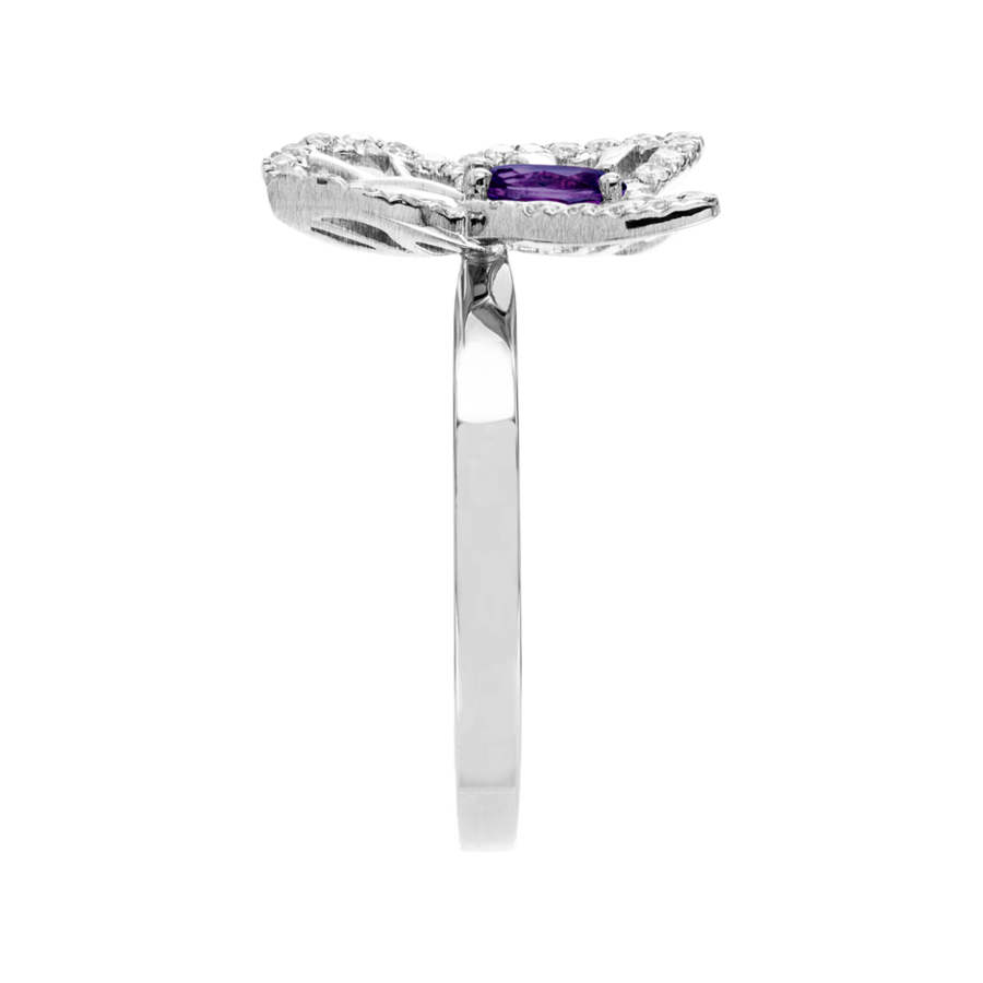Papillon Ring Amethyst in White Gold