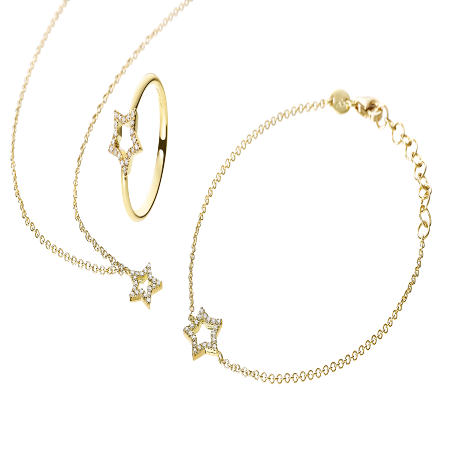 Enchanté Necklace Star in Yellow Gold