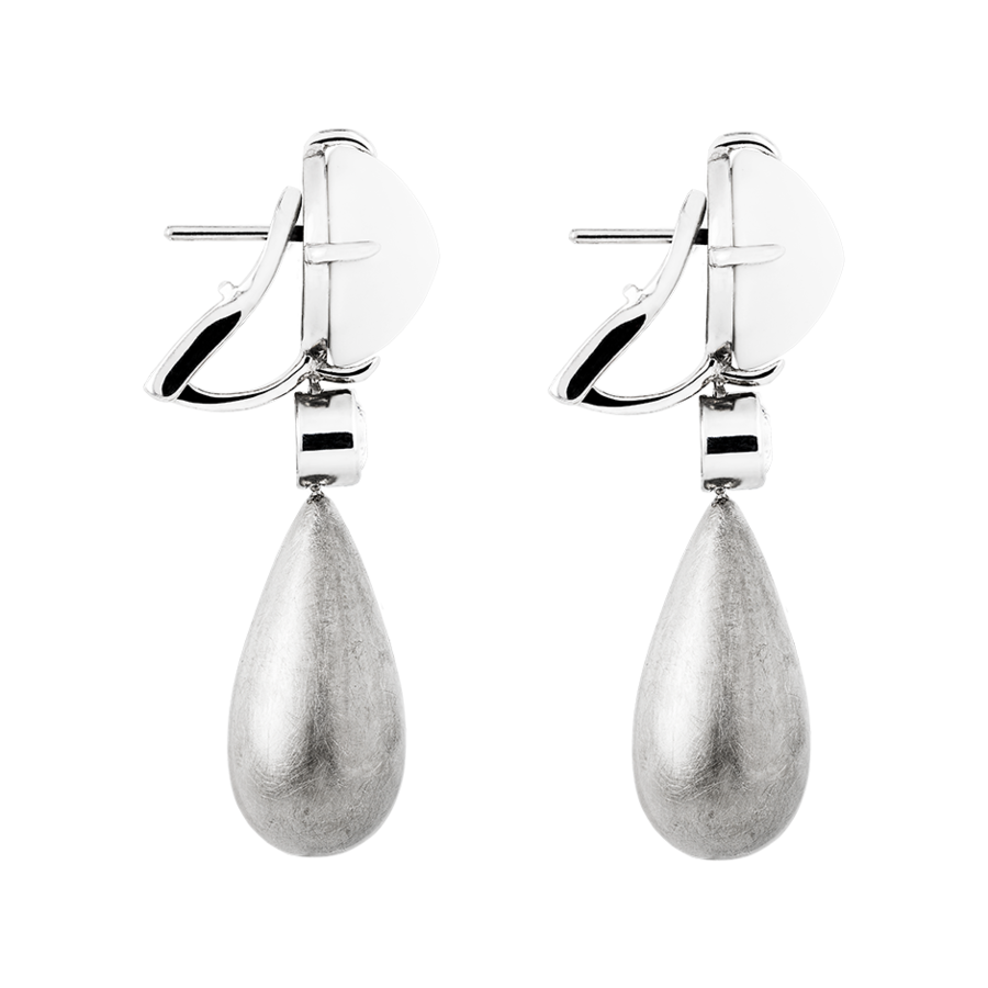 Sugar Loaf Earrings Cacholong in White Gold