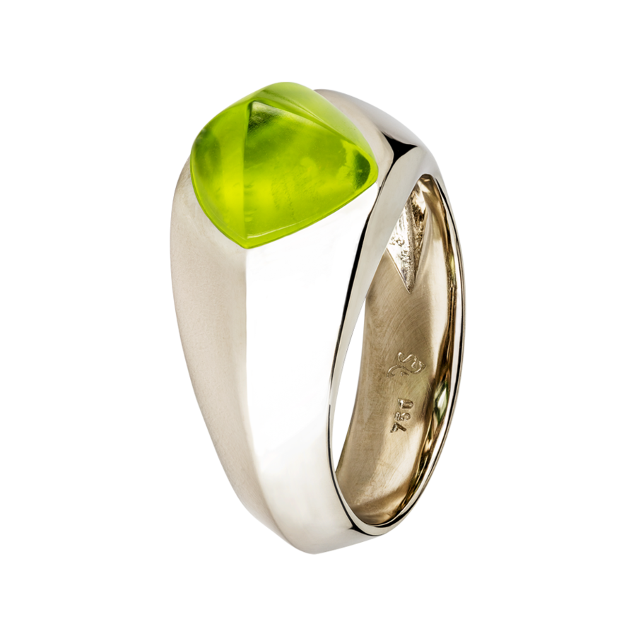 Sugar Loaf Ring Peridot in Weißgold