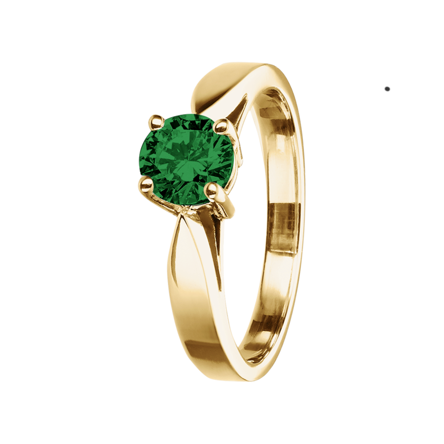 Vancouver Tourmaline green in Yellow Gold