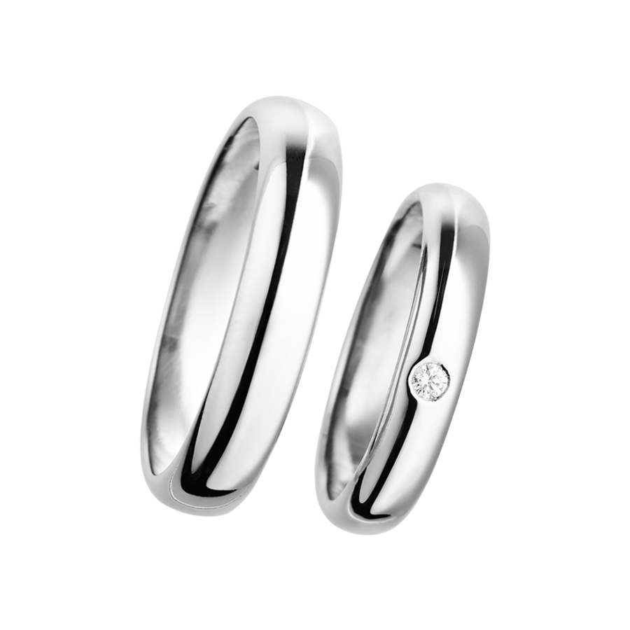Wedding Rings Classic with Brilliant in White Gold