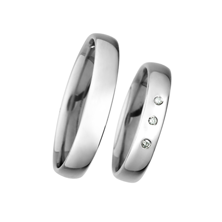 Wedding Rings with 3 Brilliants in White Gold