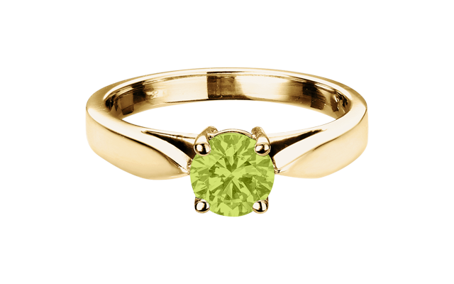 Gemstone Ring Vancouver Peridot green in Yellow Gold