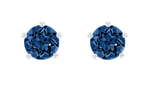 Gemstone Stud Earring 5-Prong Setting with a blue Sapphire in White Gold