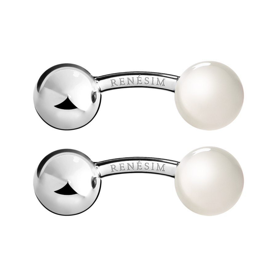 Cufflinks Steel & Moonstone in White Gold