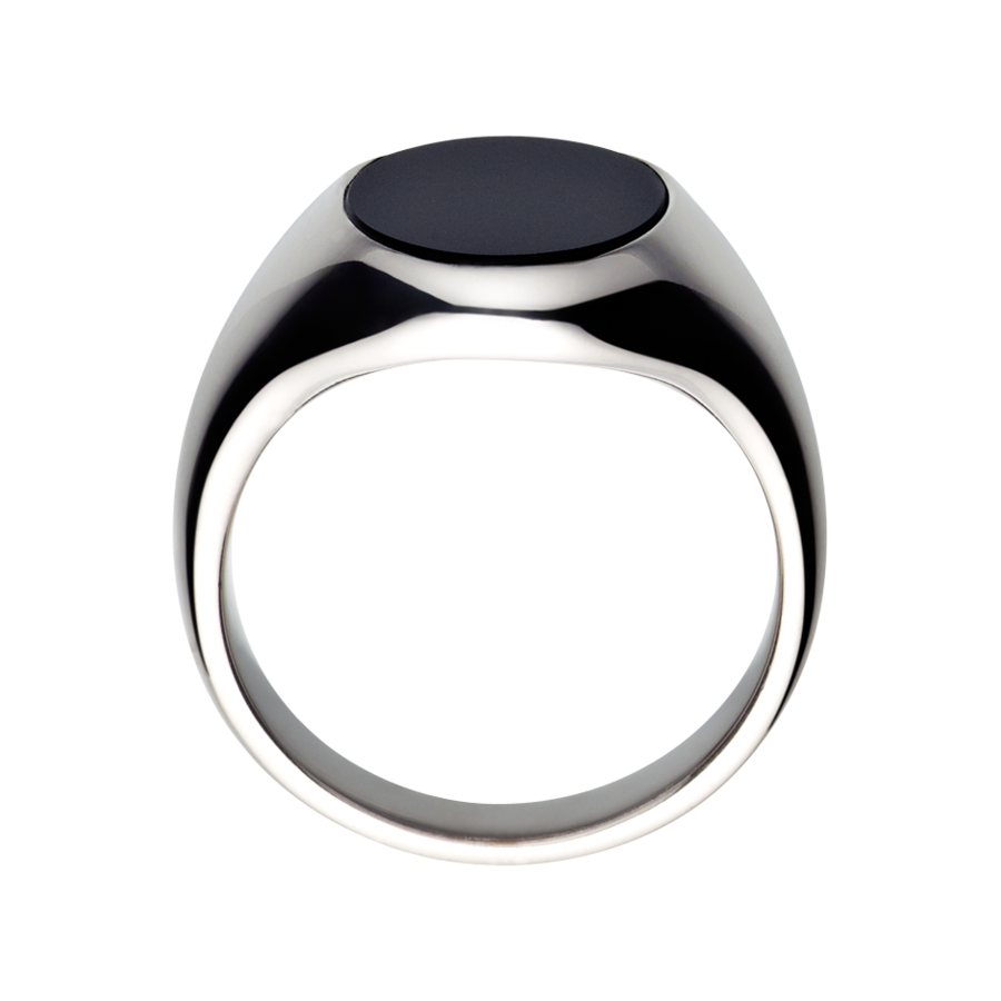 Gents Signet Ring Onyx large in White Gold