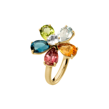 Flowers Ring klein in Gelbgold