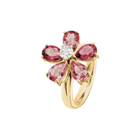 Flowers Ring Turmalin in Gelbgold