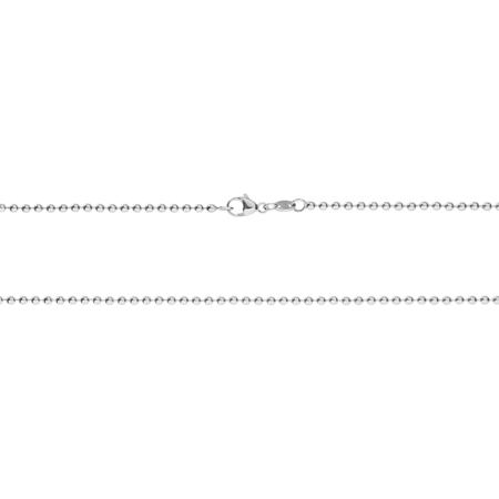 Ball Chain Necklace in White Gold