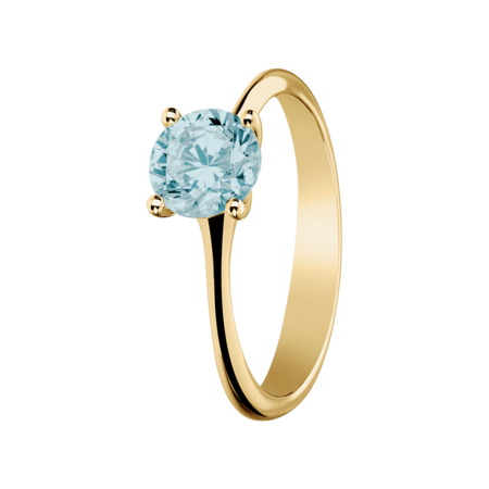 Basel Aquamarine blue in Yellow Gold