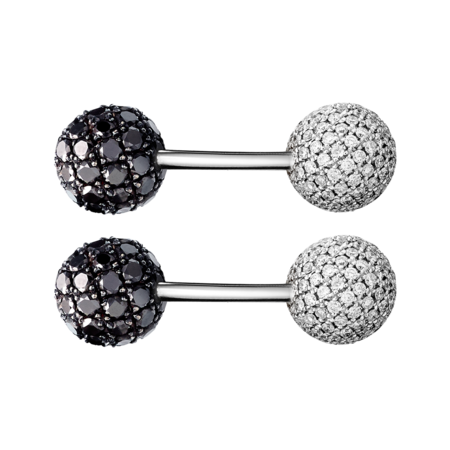 Cufflinks Black Diamond & Diamond in White Gold