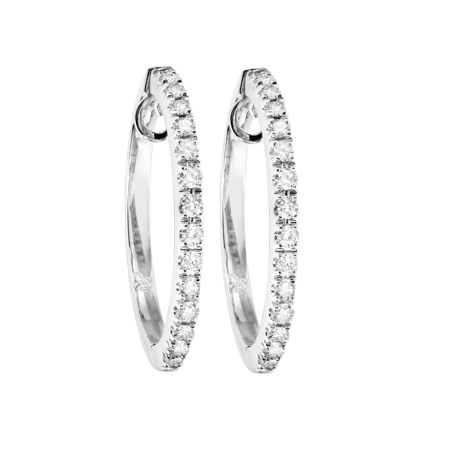 Diamond Hoop Earrings II in White Gold