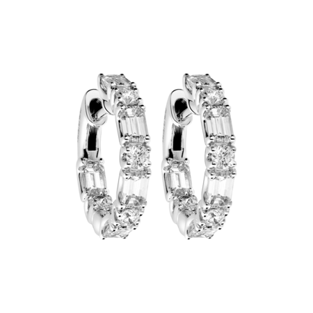 Diamond Hoop Earrings IX in White Gold
