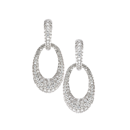 Diamond Snow Drop Earrings in White Gold