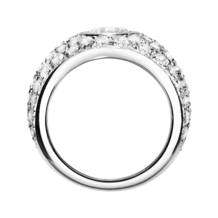 Diamond Snow Ring 77 Diamonds in White Gold