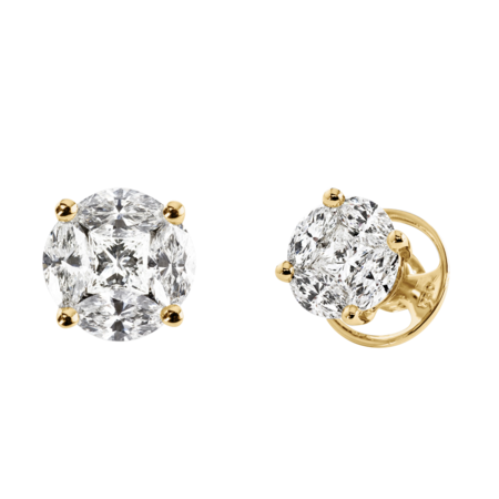 Diamond Stud Earring Composition in Yellow Gold