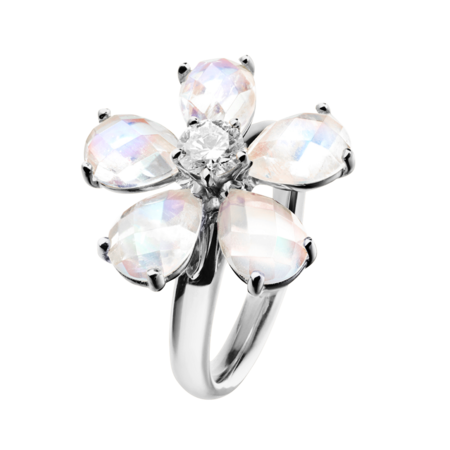 Flowers Ring Moonstone in White Gold