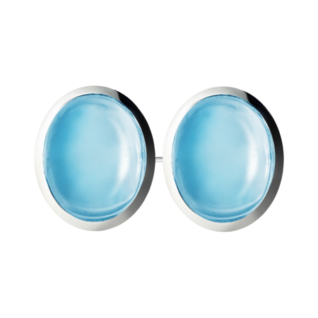 Gents Cufflinks Topaz in White Gold