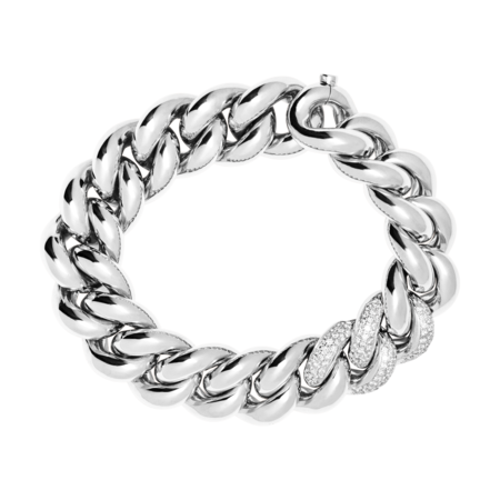 Gold Bracelet IV with Diamonds in White Gold