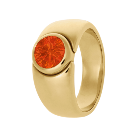 Mantua Fire Opal orange in Yellow Gold