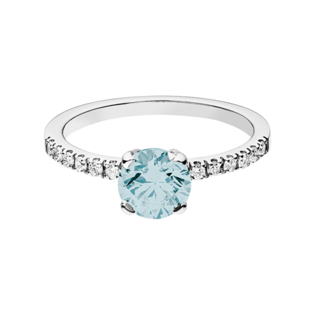 Melbourne Aquamarine blue in White Gold